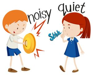47015865 - opposite adjectives noisy and quiet illustration